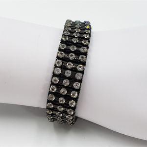 Vtg expandable clear rhinestone bracelet